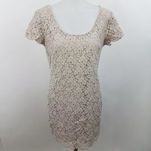 Talula Dress XS Gray Lace Scoop Short Sleeve Flora